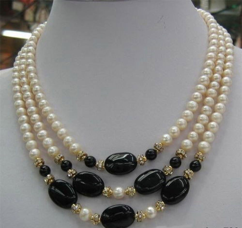 White 8mm Pearls FREE SHIPPING Vintage 20 Pearl Necklace 18kgp clasp