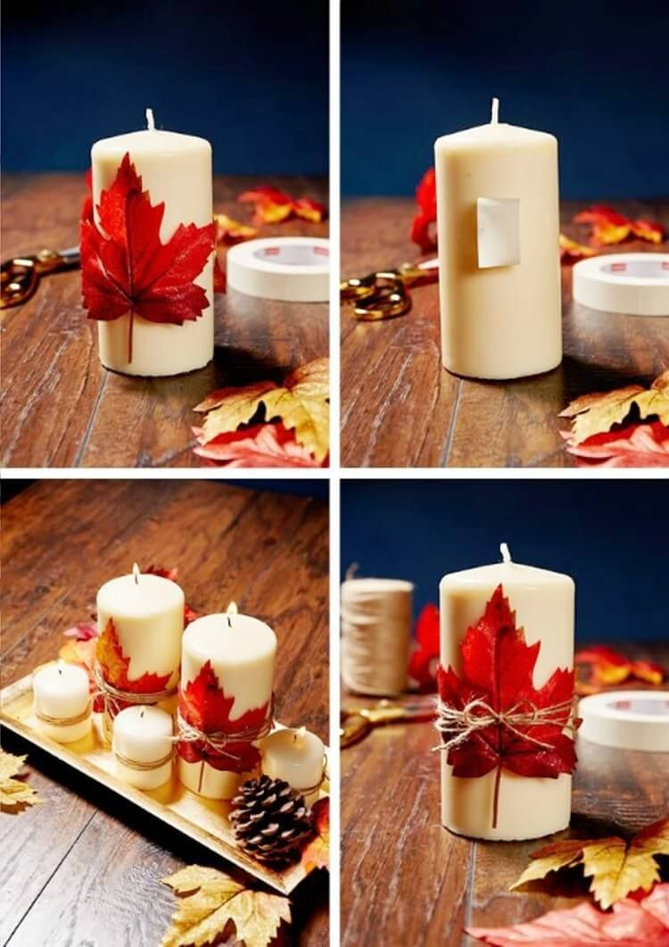 32 Easy And Fun Ideas On How To Decorate A Candle Fall Centerpieces Diy Thanksgiving Decorations Diy Diy Fall