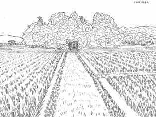 鎮守の森の田園風景の塗り絵の下絵画像 раскраски Doodles と Color