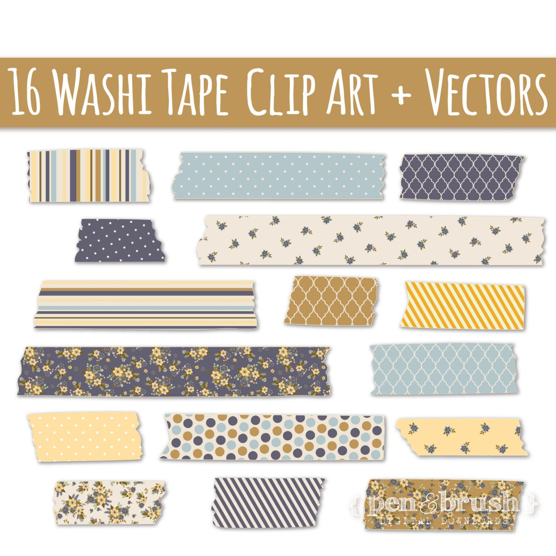 Digital Washi Tape Clipart Set Cute Floral Pattern Washi Clip Etsy In 2021 Washi Tape Clip Art Washi