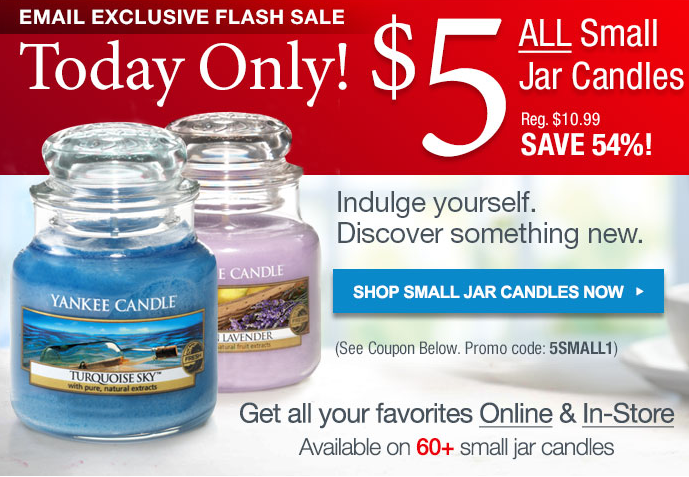 YANKEE CANDLE $$ Coupon for $5 for ALL Small Jar Candles ...