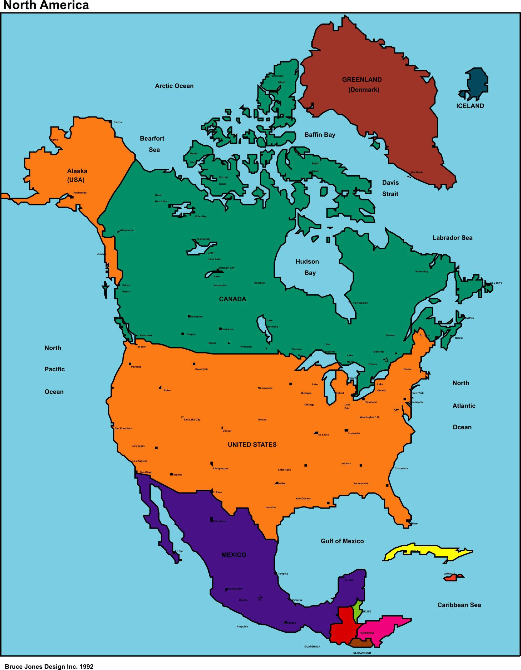 Map Of The North America Free Map Of North America For Online
