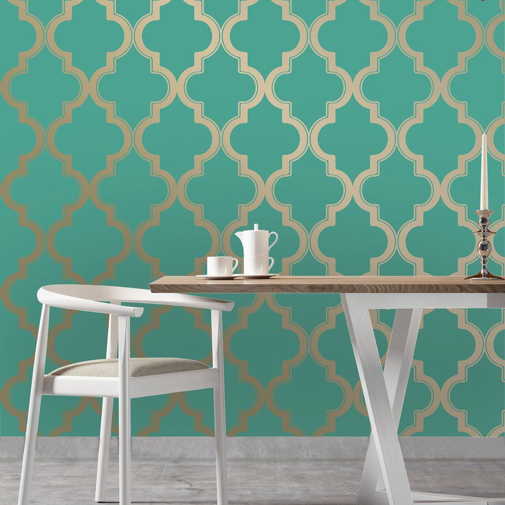 Marrakesh Wallpaper By Tempaper In Honey Jade Available At