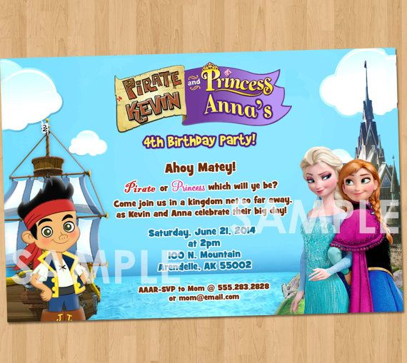 Pirate and Princess Invitation Dual Frozen and Jake and the – Princess and Pirate Birthday Invitations