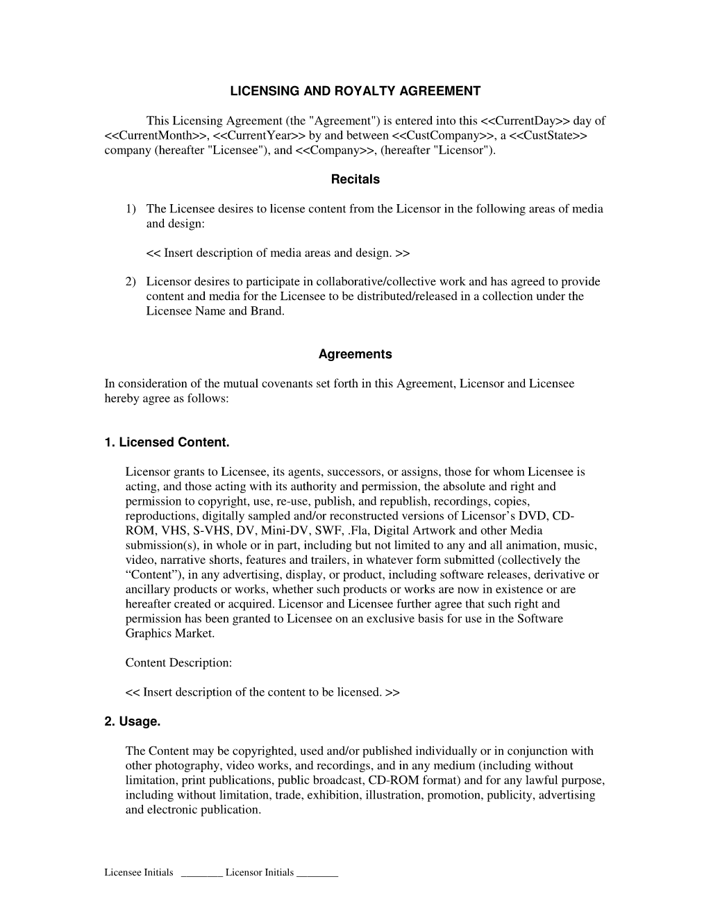 Software License and Royalty Agreement Software Contracts – Software License Agreement Template