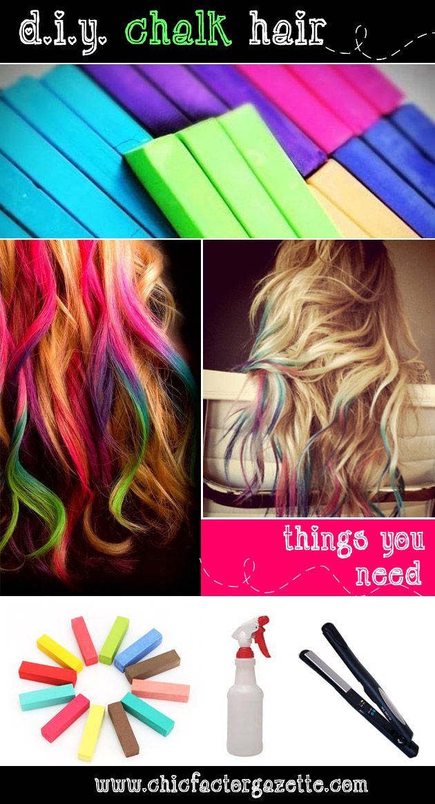 Diy Hair Chalk Tutorial Hair Chalk Guide For Brunettes Blondes Easy Hair Coloring Tutorial Online Fashion Magazi Diy Hair Color Diy Hair Chalk Hair Chalk