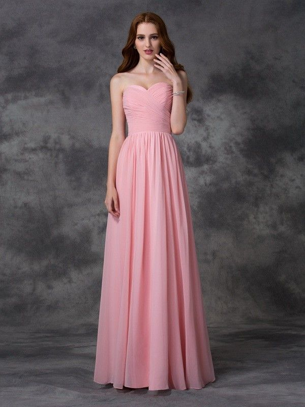 A-line/Princess Sleeveless Sweetheart Ruffles Floor-length Chiffon ...