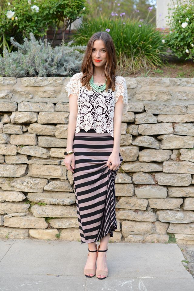 1b8acb0cf9 Stripes maxi skirt and lace top #outfitpost | From the Blog ...