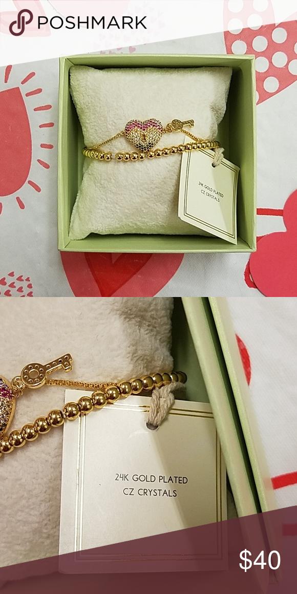 e80ff92360d15 Rainbow Heart Arm Candy Bracelet 24k plated Brand:Arm Candy by Eye ...