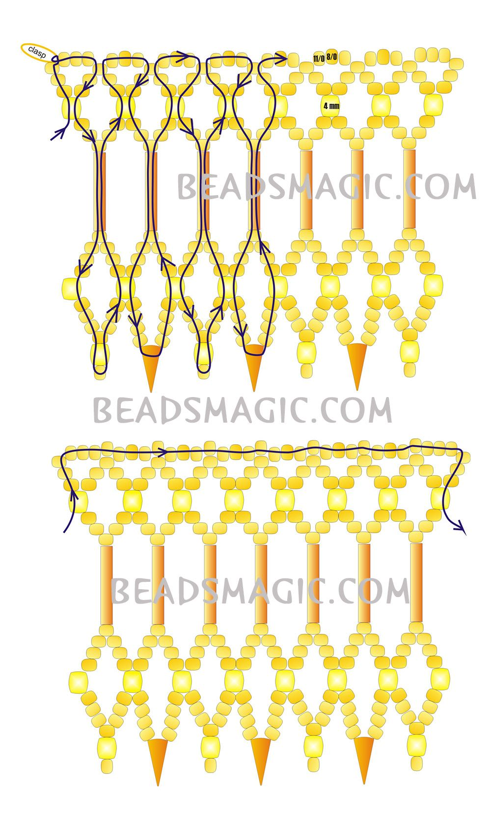 FREE Pattern for Necklace GOLDEN DUST | Beads Magic. Use: seed beads 11/0 and 8/0, faceted beads 4mm, spikes, bugle beads. Page 2 of 2