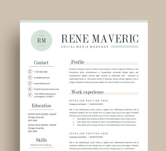 3page Resume + FREE Business Cards + Cover Letter + Reference Page // Mint /