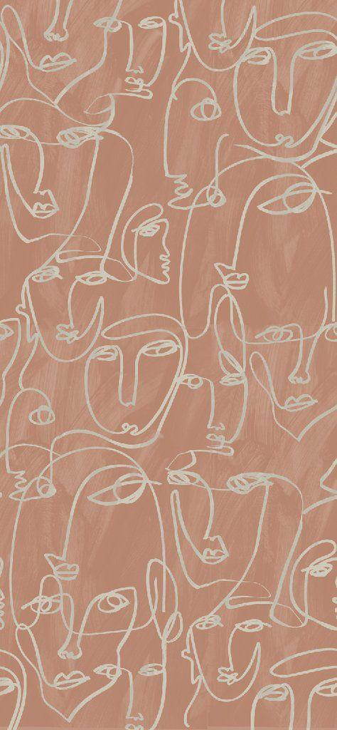 Fabric by the yard : Femme© // Terracotta - Drop it Modern #designwallpaper
