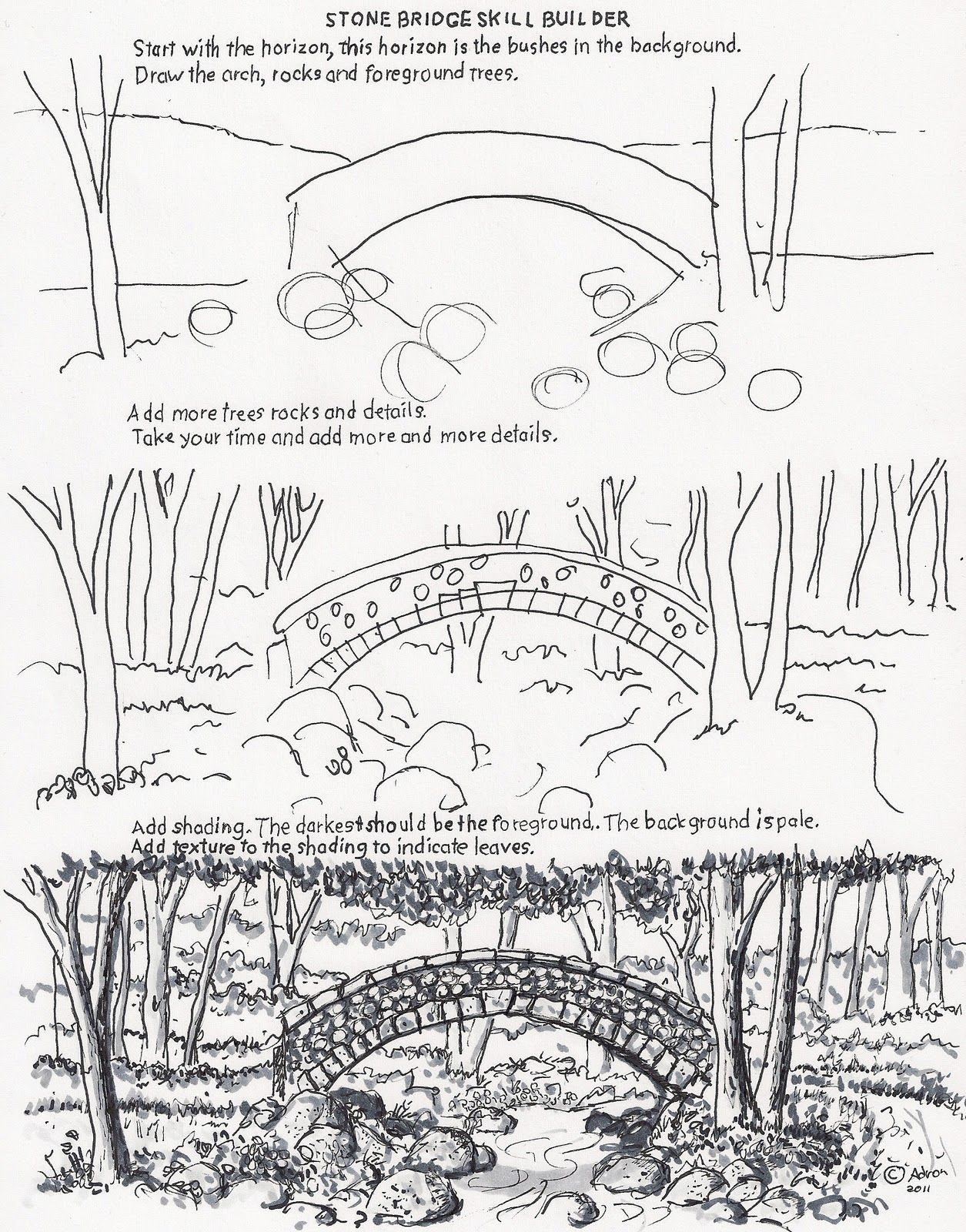 How To Draw The Arch Bridge Worksheet Drawing And Painting