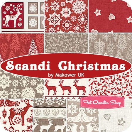 Fat Quarter Scandinavian Knitted Xmas Red Christmas 100/% Cotton Quilting Fabric
