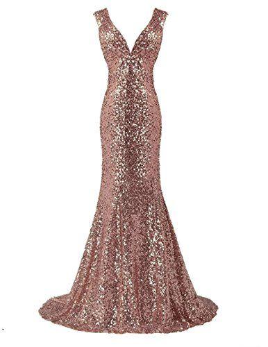 LanierWedding Gold Sequins Mermaid V neck Bridesmaid Dres... https ...