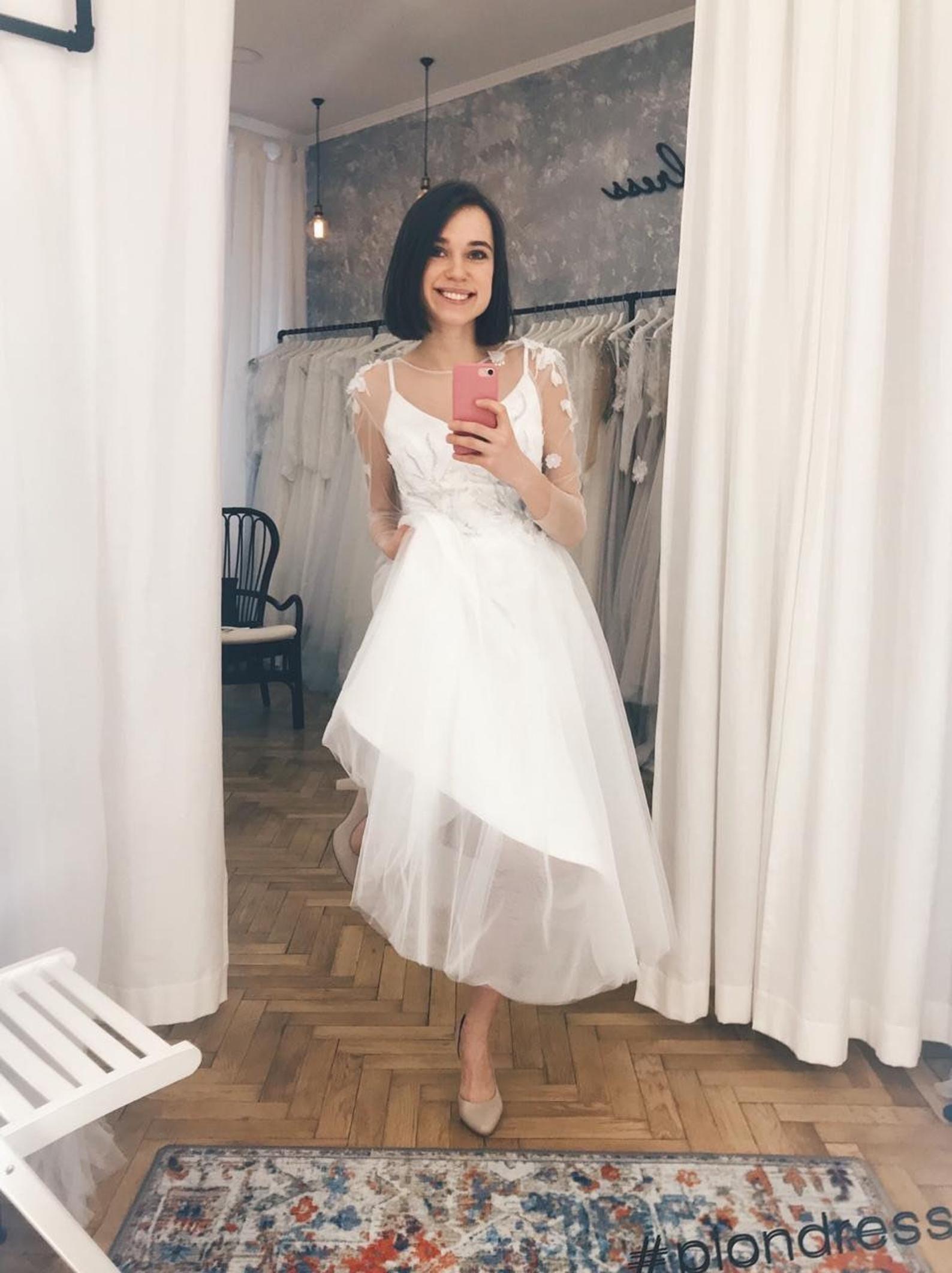 Short Wedding Dress Long Sleeve Tulle Wedding Dress Wedding Etsy Midi Wedding Dress Wedding Dress Long Sleeve Tulle Wedding Dress [ 2122 x 1588 Pixel ]