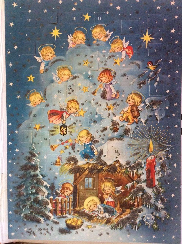 details about vintage advent calendar angels chreche. Black Bedroom Furniture Sets. Home Design Ideas