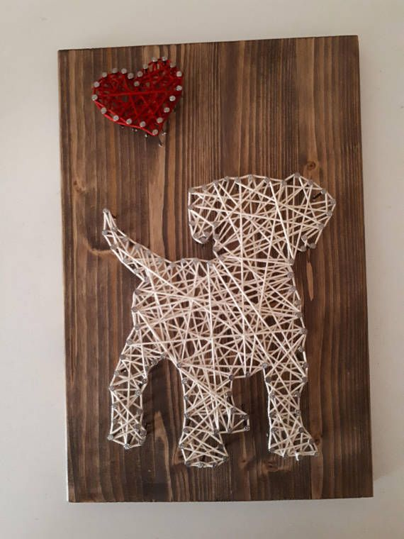 dog string art puppy string art perfect present wood. Black Bedroom Furniture Sets. Home Design Ideas