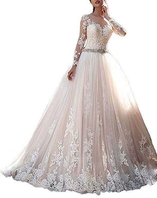 AZNA Damen Spitze Applique Prinzessin Langarm Hochzeitskleid ...