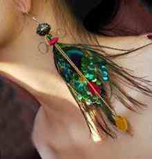 Peacock earrings.