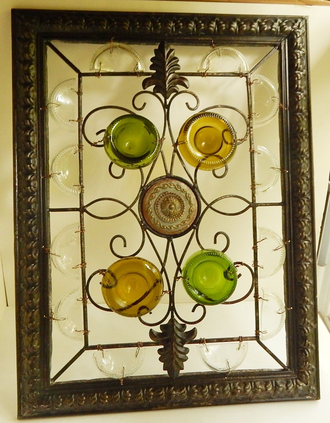 Wall Decor, Window Art, Recycled Glass, Wrought Iron Works - $85.00 ...