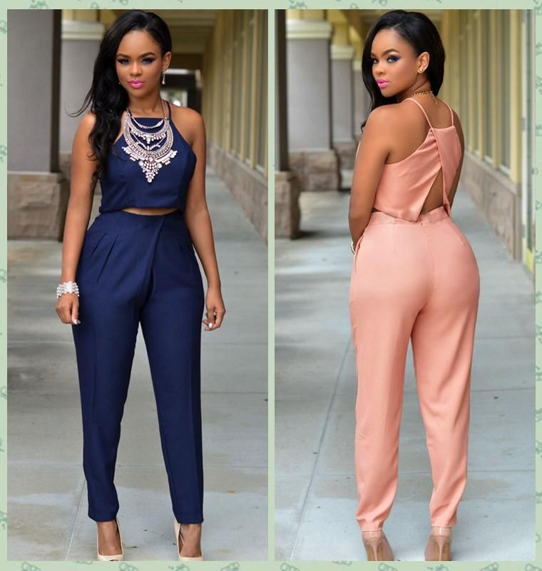 e5a1c17c06 Set Women Crop Top And Pants Set 2016 Summer Casual Two Piece Outfits Long  High Waist