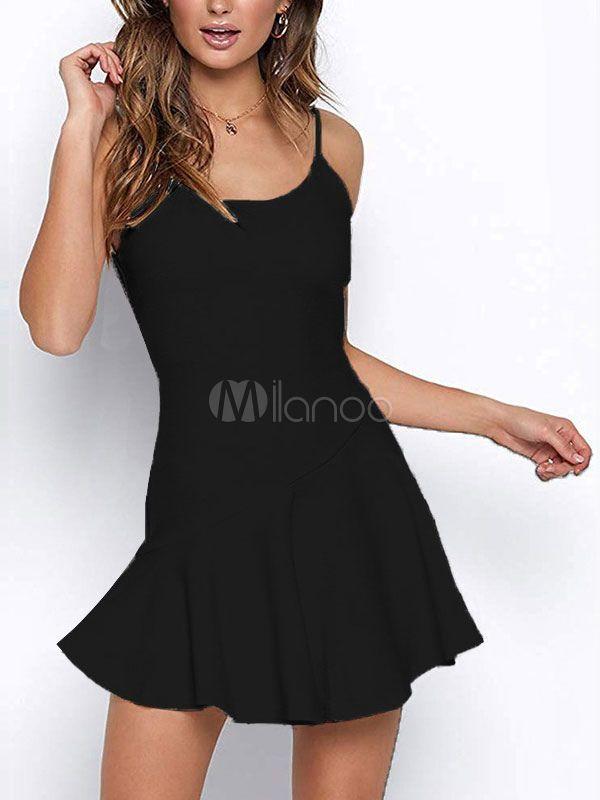 Women Mini Dresses Sleeveless Ruffle Short Slip Dress