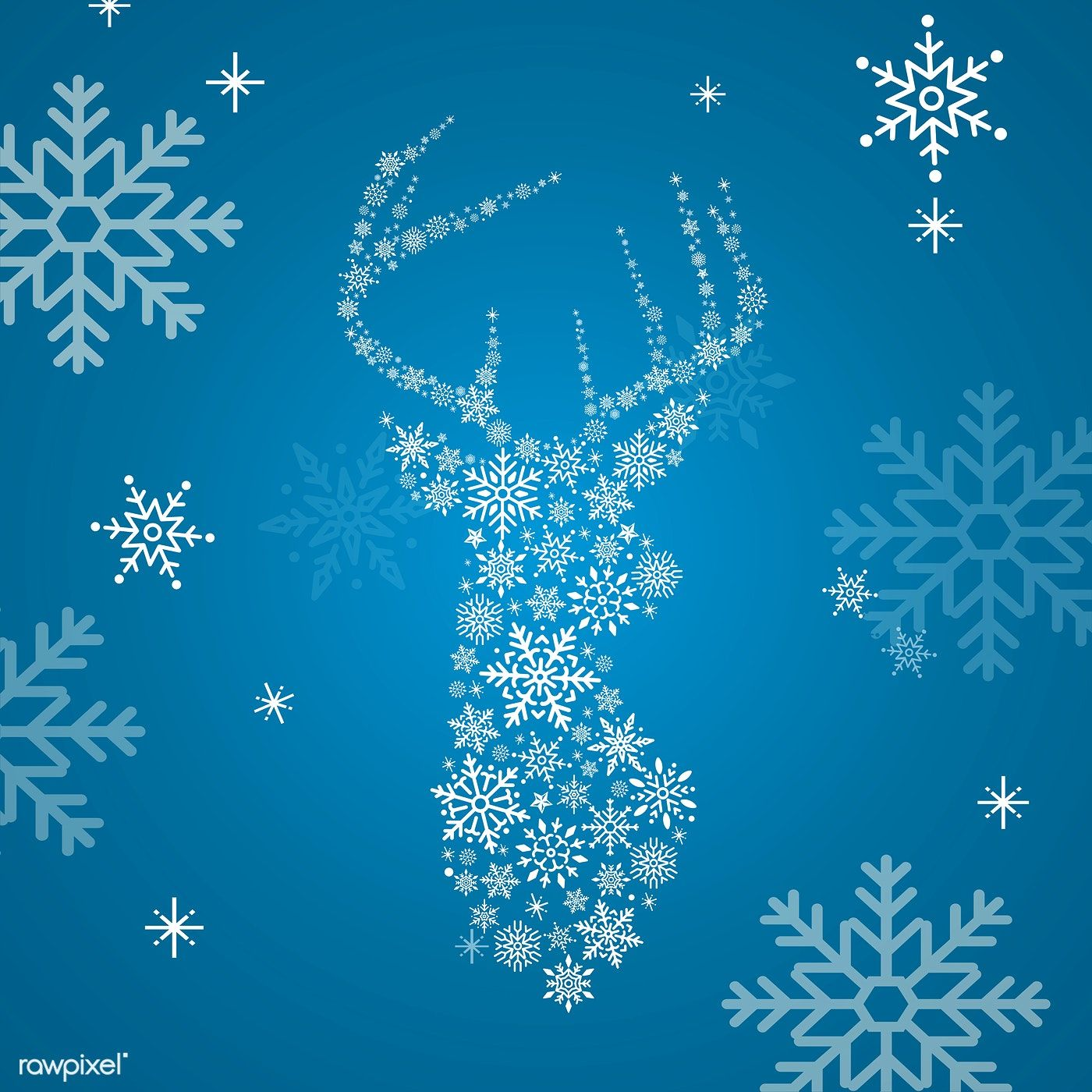Blue Christmas Winter Holiday Background With Snowflake And Reindeer Vector Free Image By Rawpixel Com