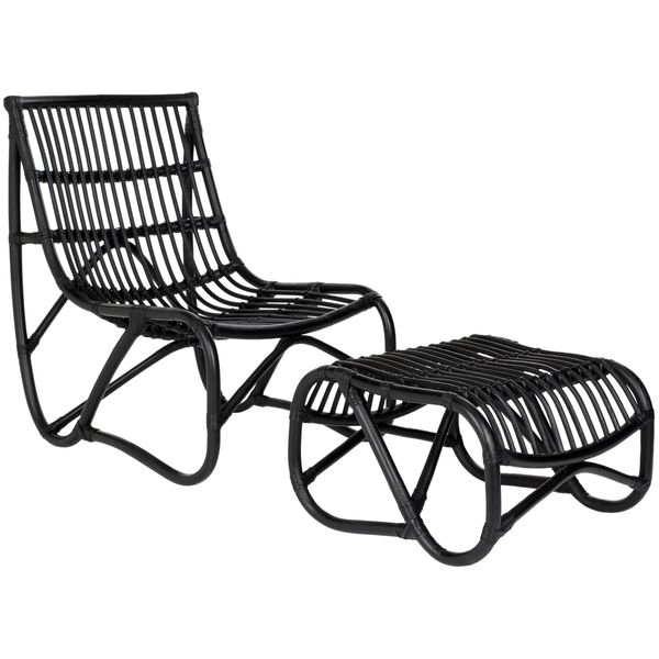 High Quality Safavieh Shenandoah Black Wicker Chair And Ottoman Set