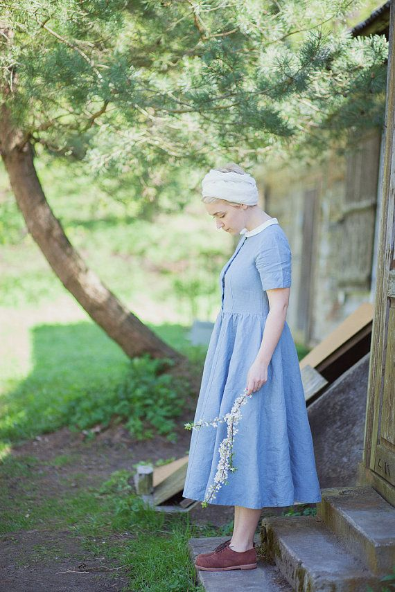 Blue Linen Dress White Collar Women Fashion Hand by SondeflorShop