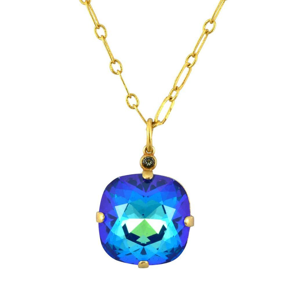 Catherine popesco gold plated large rounded square swarovski crystal catherine popesco gold plated large rounded square swarovski crystal pendant necklace 162 aloadofball Image collections