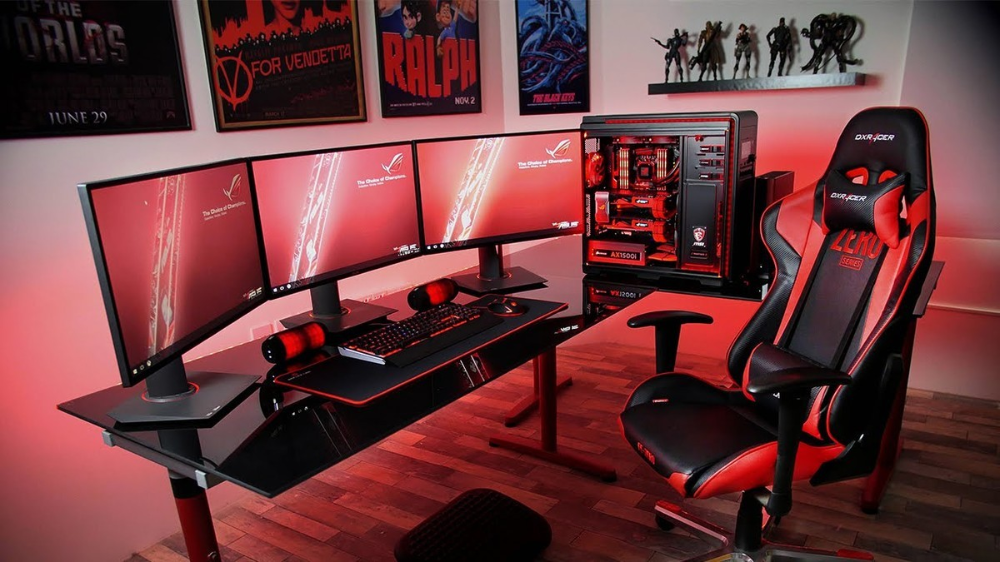 Set Up Your Game Station With The Best Gaming Desks Out There Game Room Video Game Rooms Room Setup