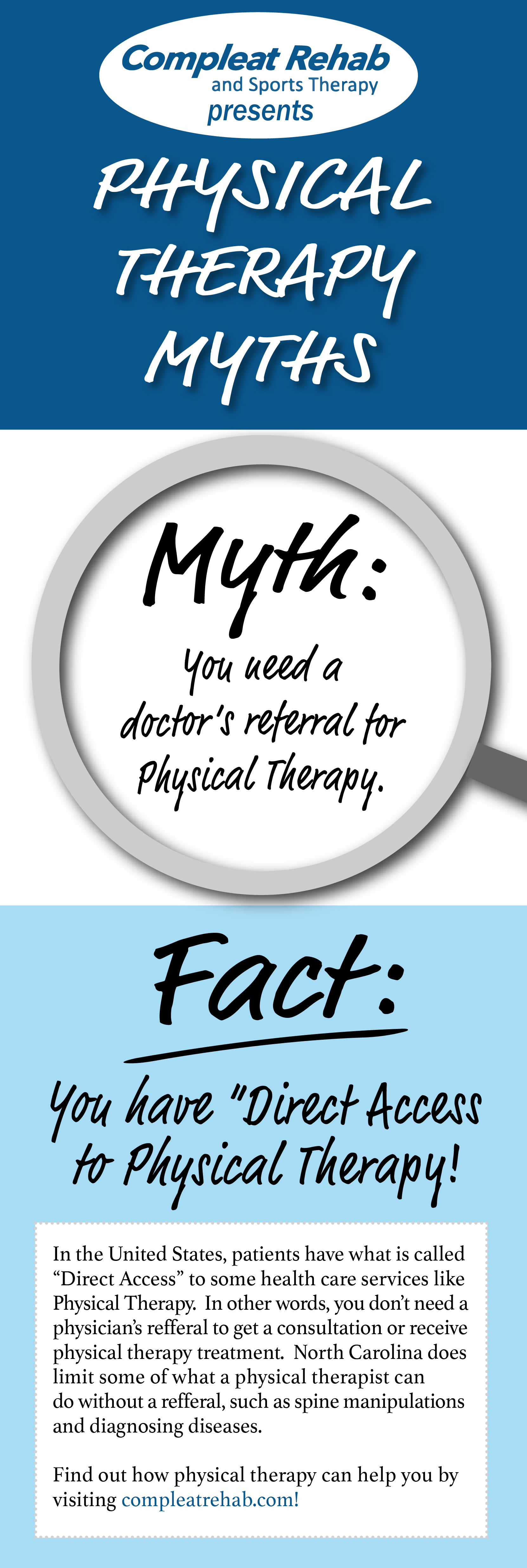 Physical Therapy Myths busted! You do NOT need a doctor's