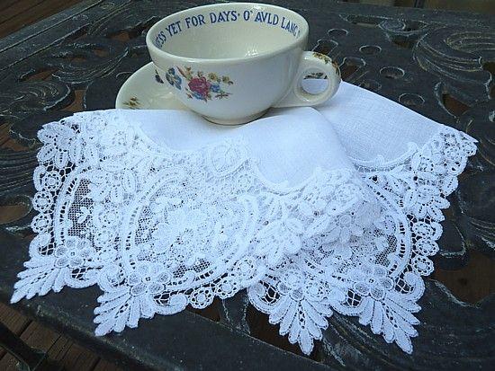 Em's Heart Antique Linens -Antique Linen Chemical Lace Wedding Hanky