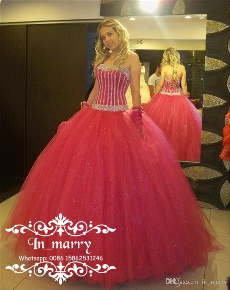 Luxury Red Ball Gown Masquerade Quinceanera Dresses 2017 Sequined