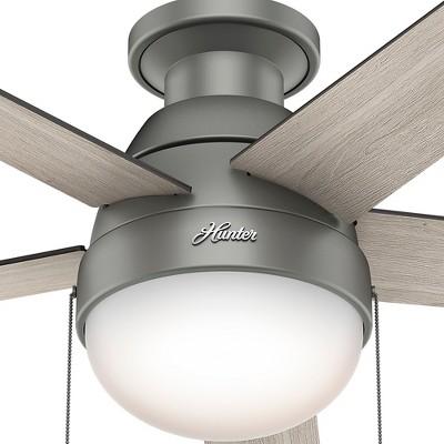 46 Anslee Low Profile Matte Silver Ceiling Fan With Light Hunter Fan In 2020 Silver Ceiling Fan Ceiling Fan Best Ceiling Fans