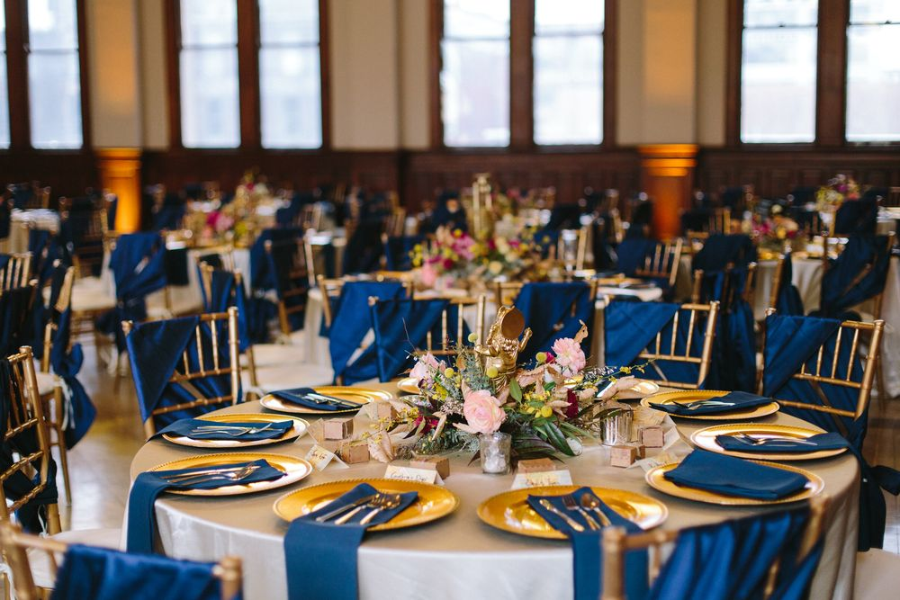 #navy and #gold #reception #decor #winter #wedding #chargers #place #setting #chivari  Photo by @jophotos