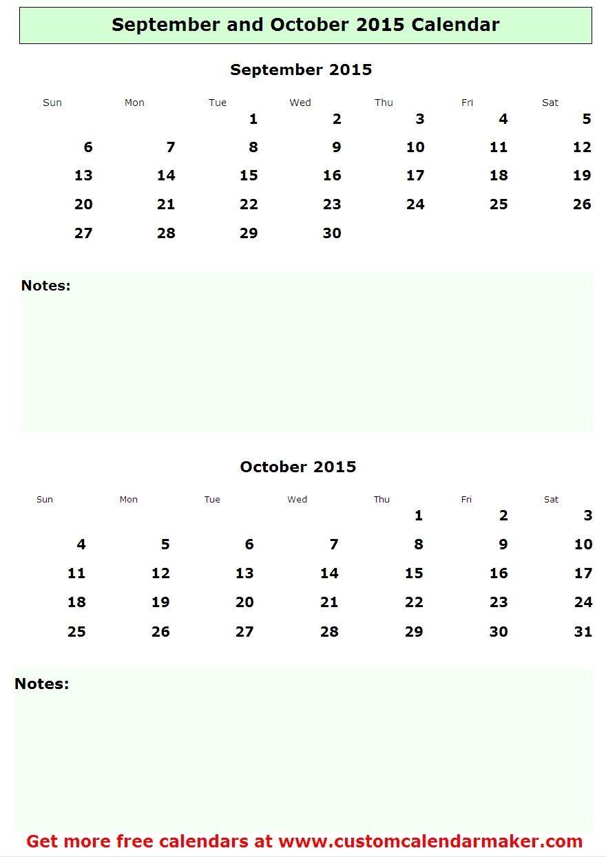 September And October 2015 Calendar August Calendar Calendar Printables 2015 Calendar Printable