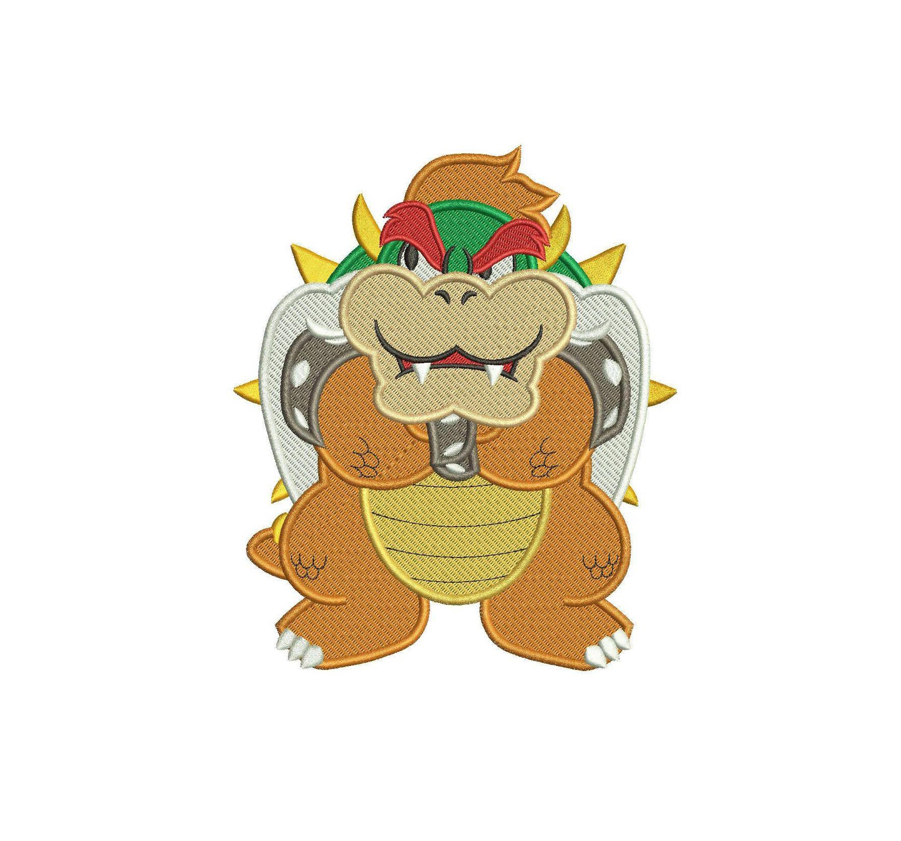 Bowser Super Mario Full Embroidery Design Embroidery Designs Applique Designs Super Mario