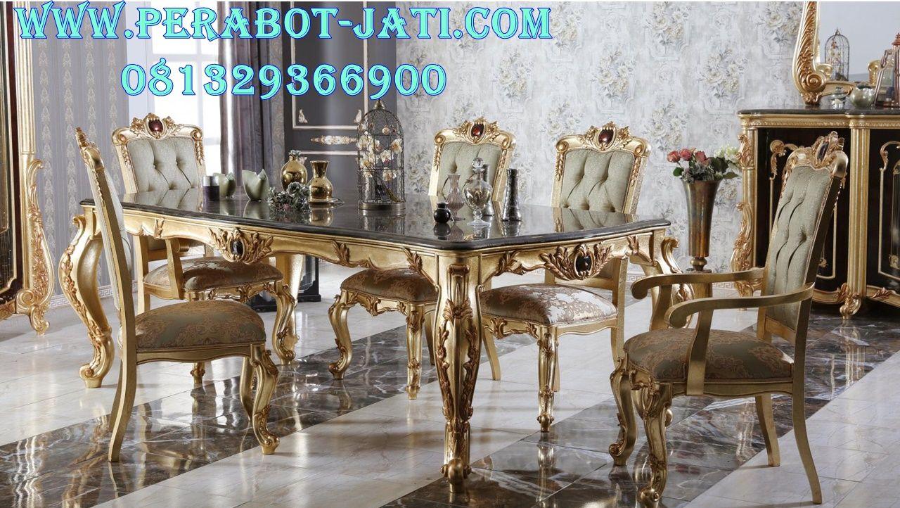 Model Set Meja Ruang Makan Klasik Warna Emas Set meja