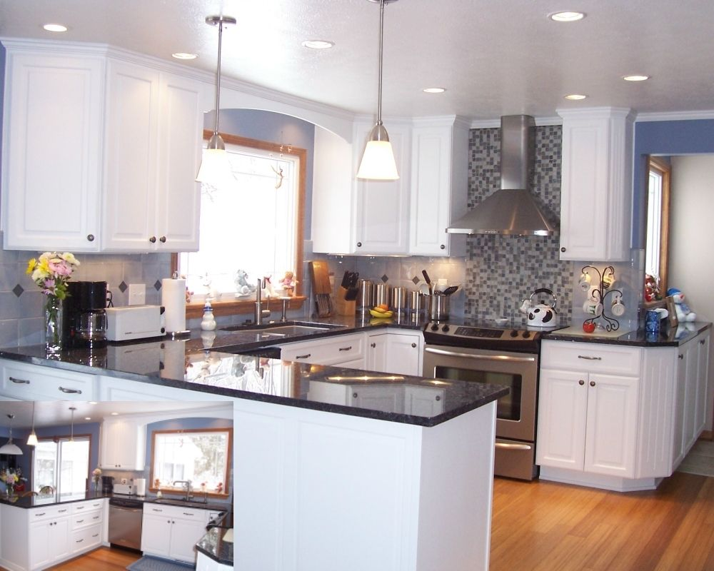Kitchen With Blue Pearl Granite Countertop And Gray Tile Backsplash