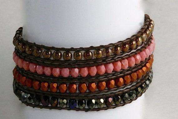Cooper Brown Pink Quad Bracelet by EleganceMade on Etsy, $55.00