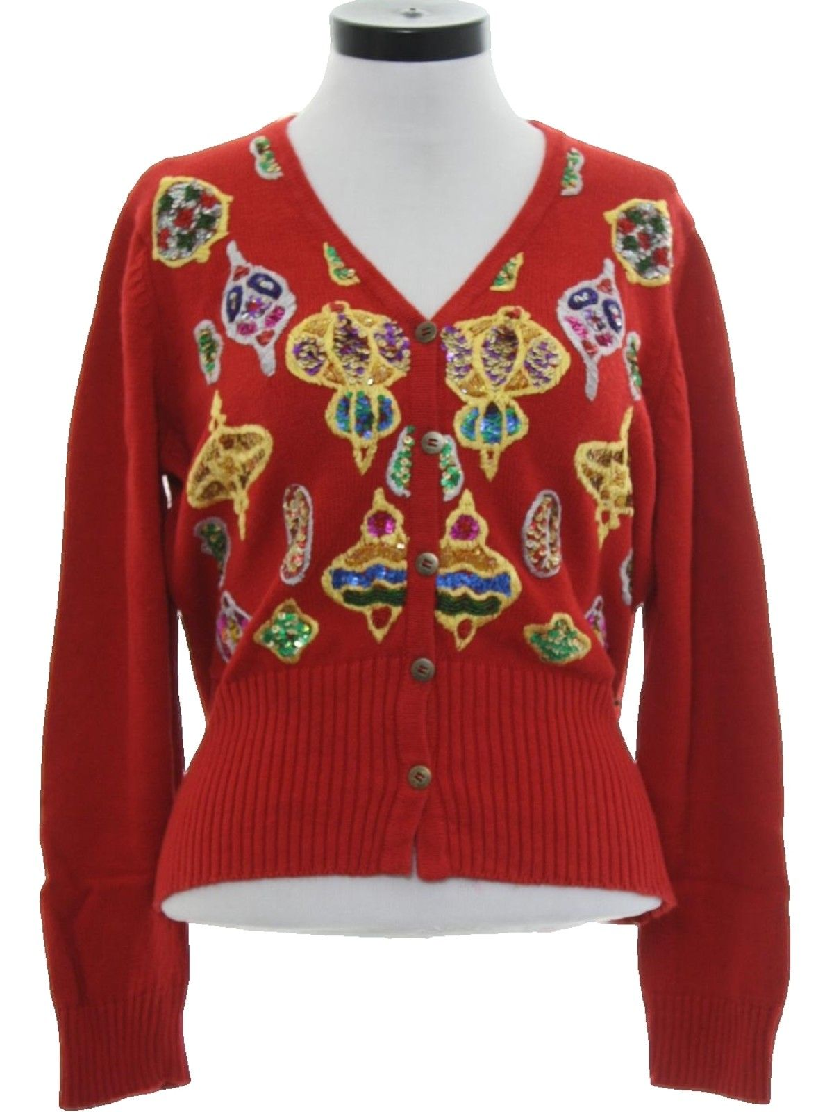 90s Womens Designer Ugly Christmas Cardigan Cocktail Sweater: 90s ...