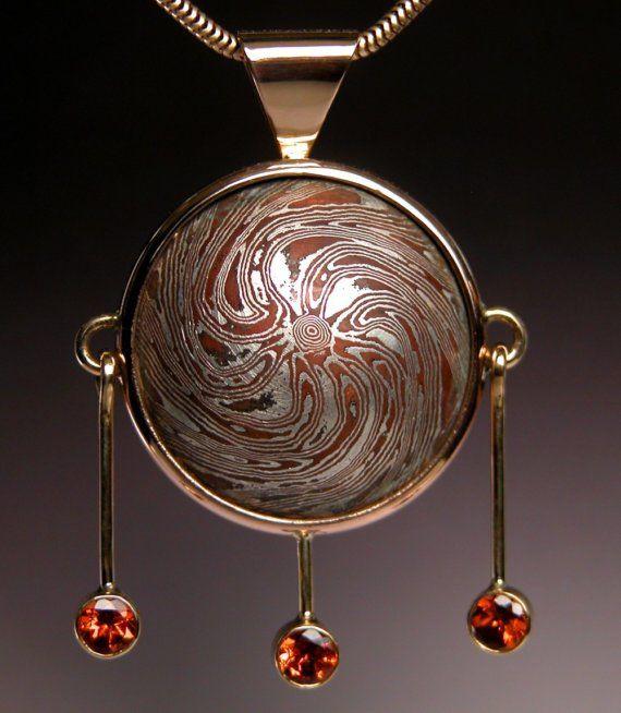 Mokume gane pendant in 18 karat gold with hessonite garnets portal mokume gane pendant in 18 karat gold with hessonite garnets portal aloadofball Gallery