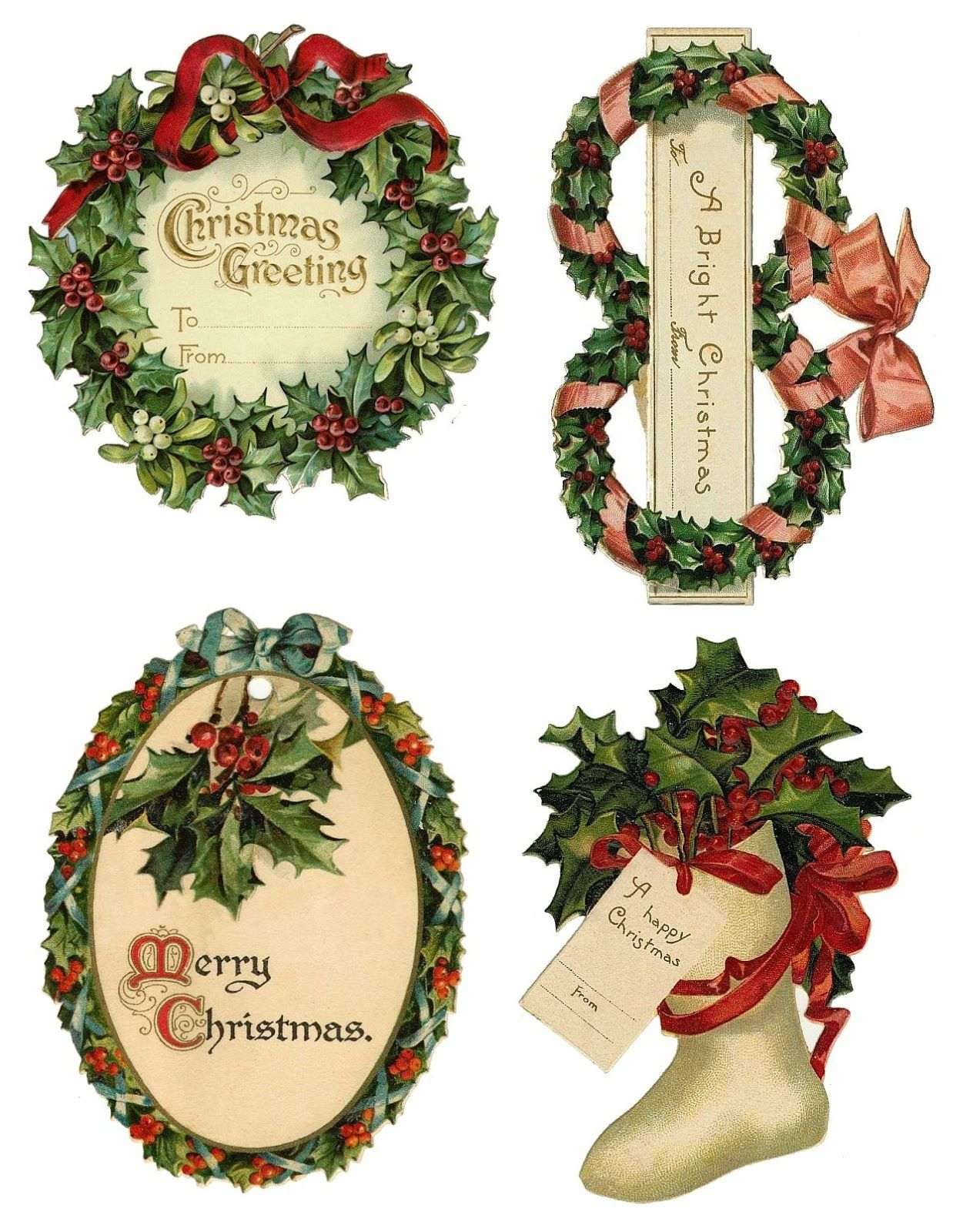 Beautiful Christmas Tags Over the Rainebeau   Vintage/Retro ...