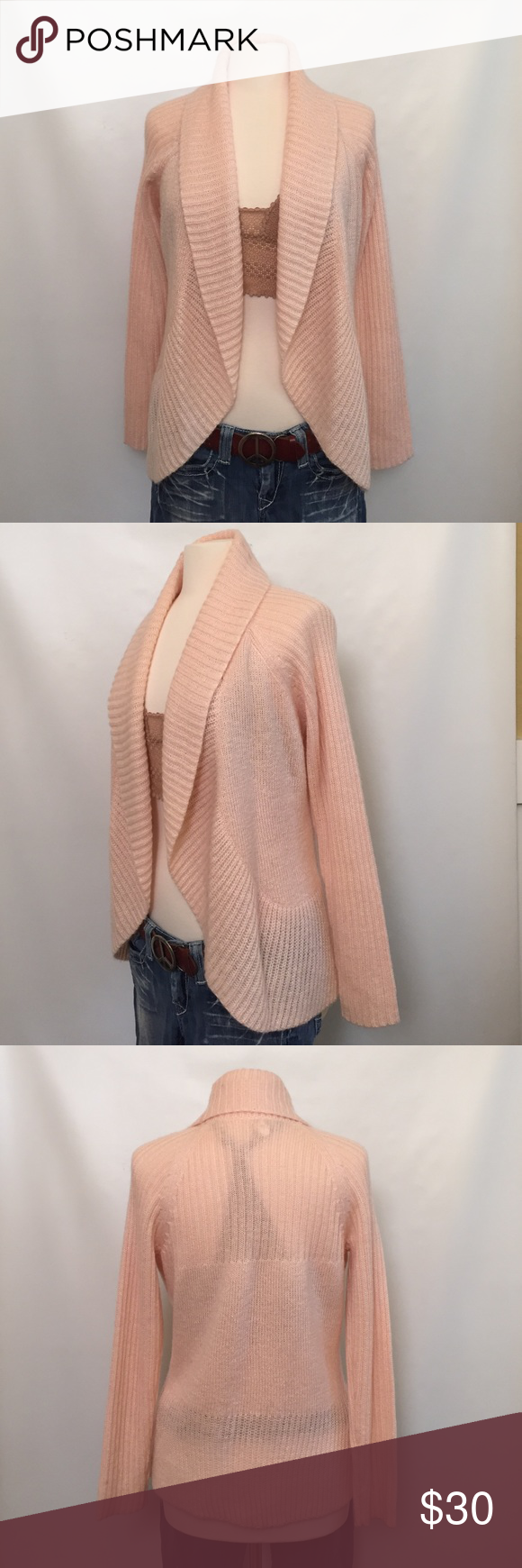 Chico's cardigan sweater Light pink, knit, open front cardigan sweater. In excellent condition. Size 1 Chico's Sweaters Cardigans