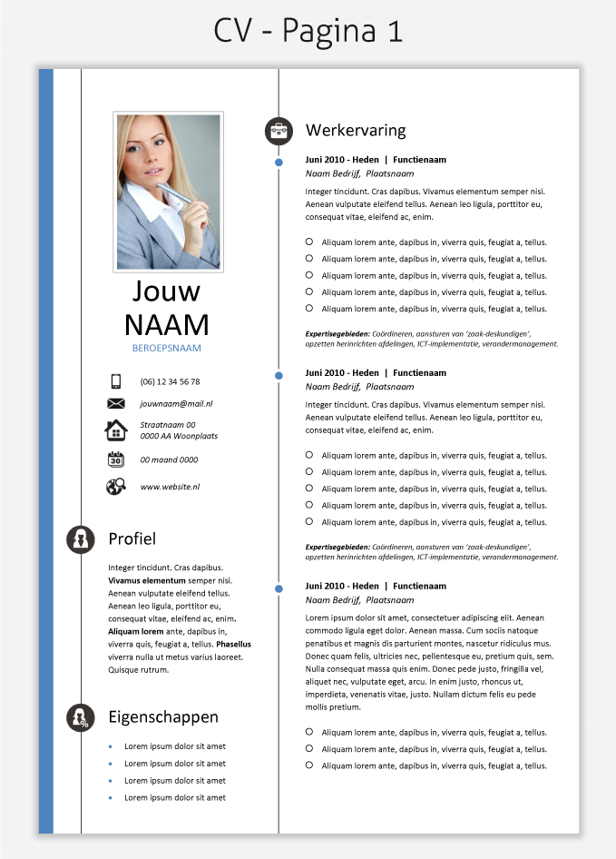 cv template 260 om te downloaden cv templates downloaden
