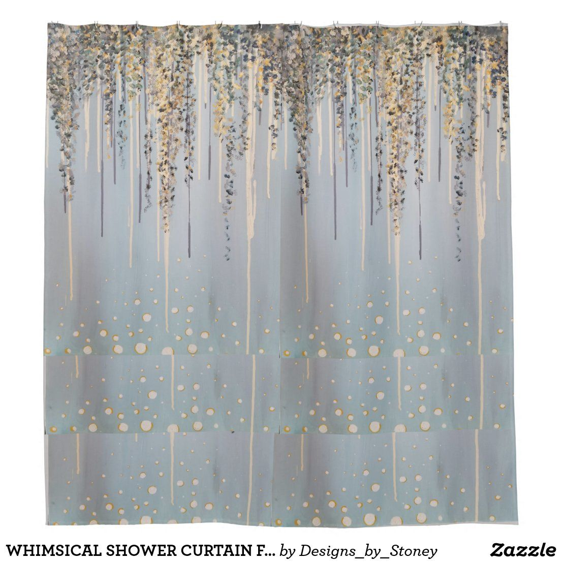 Whimsical Shower Curtain Floral And Bubbles In 2020 Printed