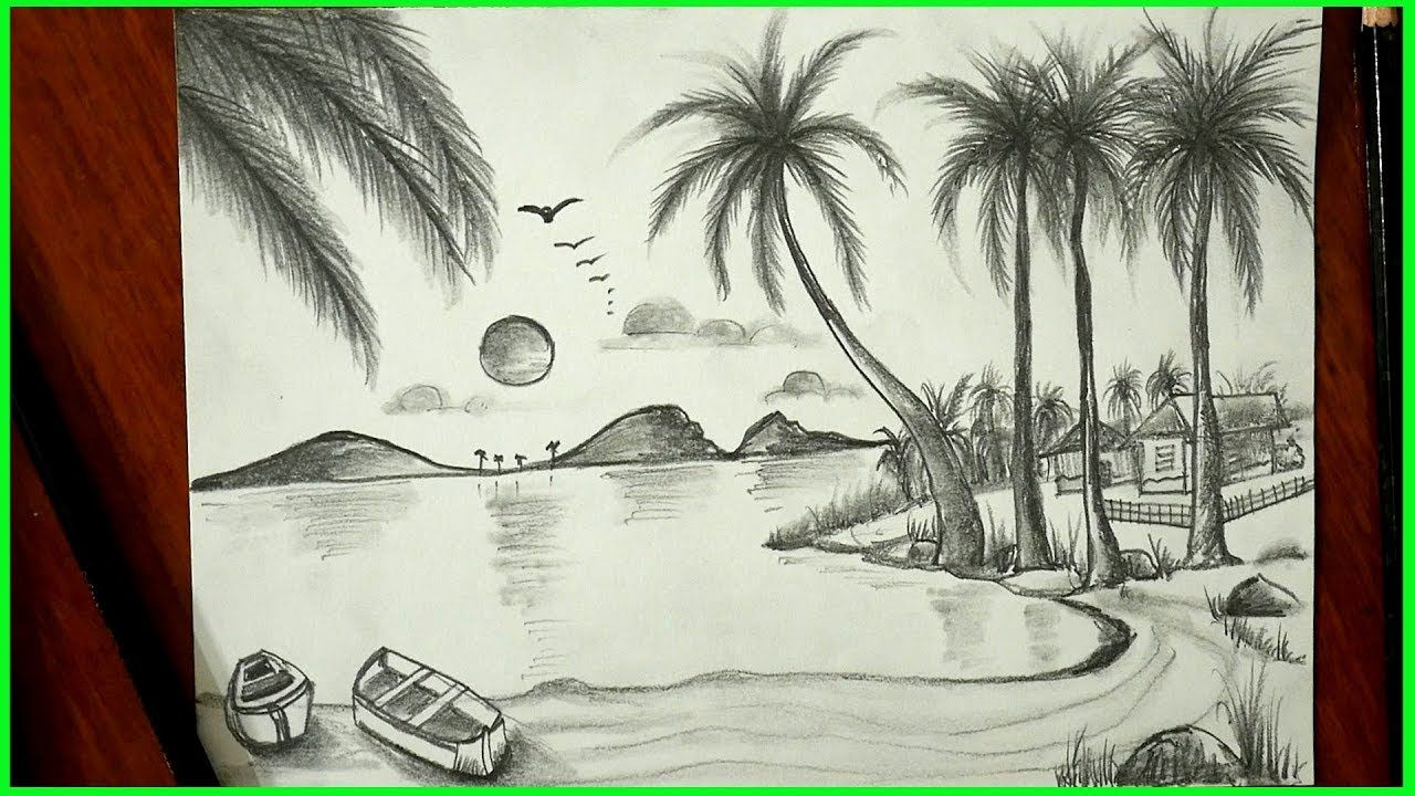 Landscape Drawing Nature Art Pencil Sketch Easy For Children S Nagender In 2020 Drawing Sketches Landscape Drawings Drawings