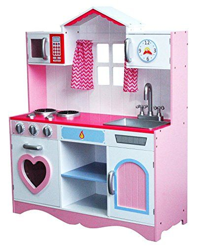 Large Girls Kids Pink Wooden Play Kitchen Children S Role Play